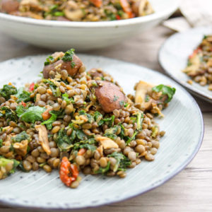 Puy Lentils with Mushrooms and Kale