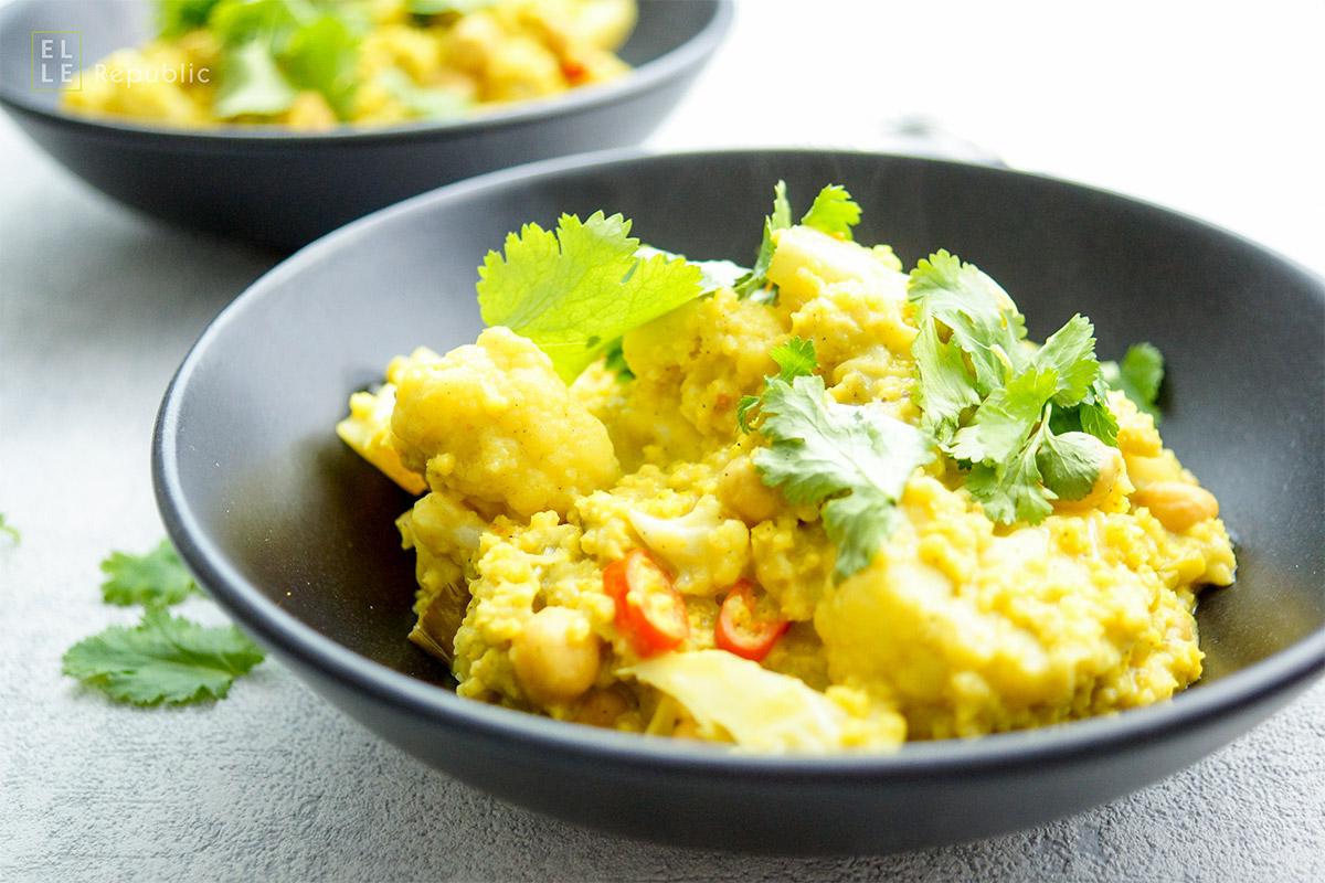 Blumenkohl und Kichererbsen Curry mit Hirse. Vegan, vegetarisch und glutenfrei Rezept.