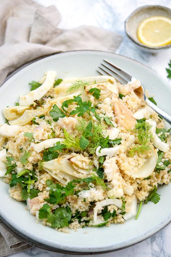 Fenchelsalat mit Forelle und Quinoa Rezept