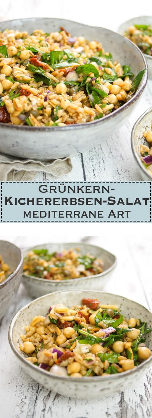 Grünkern-Kichererbsen-Salat mediterrane Art Vegetarisch, Vegan, Rezept
