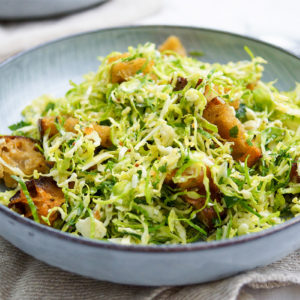 Brussels Sprouts Caesar Salad with Herbed Croutons