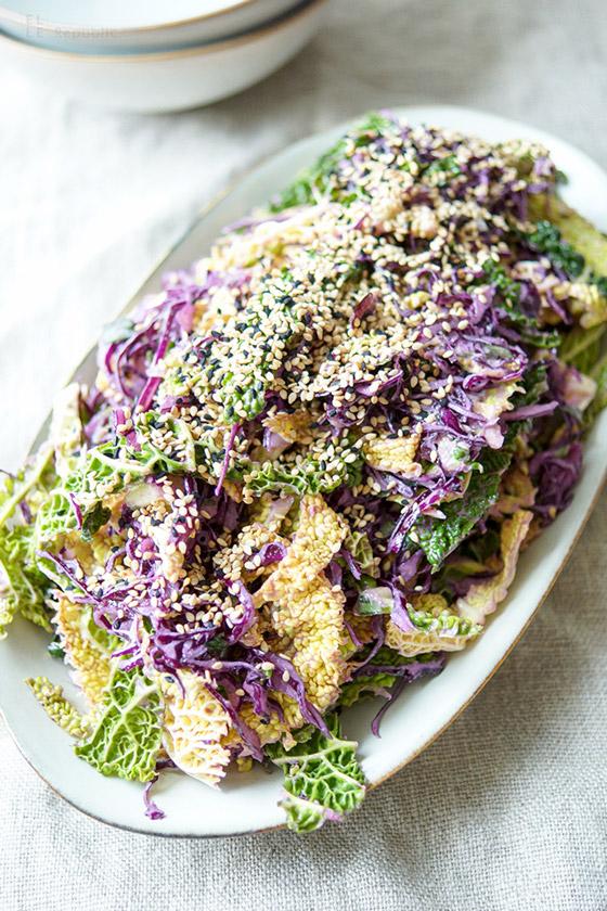Shredded Cabbage Salad with Tahini-Lemon Dressing