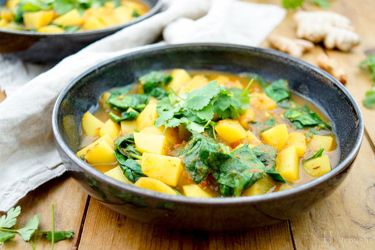 Kartoffel-Spinat-Curry Rezept, vegan, vegetarisch, glutenfrei, gesund und einfach