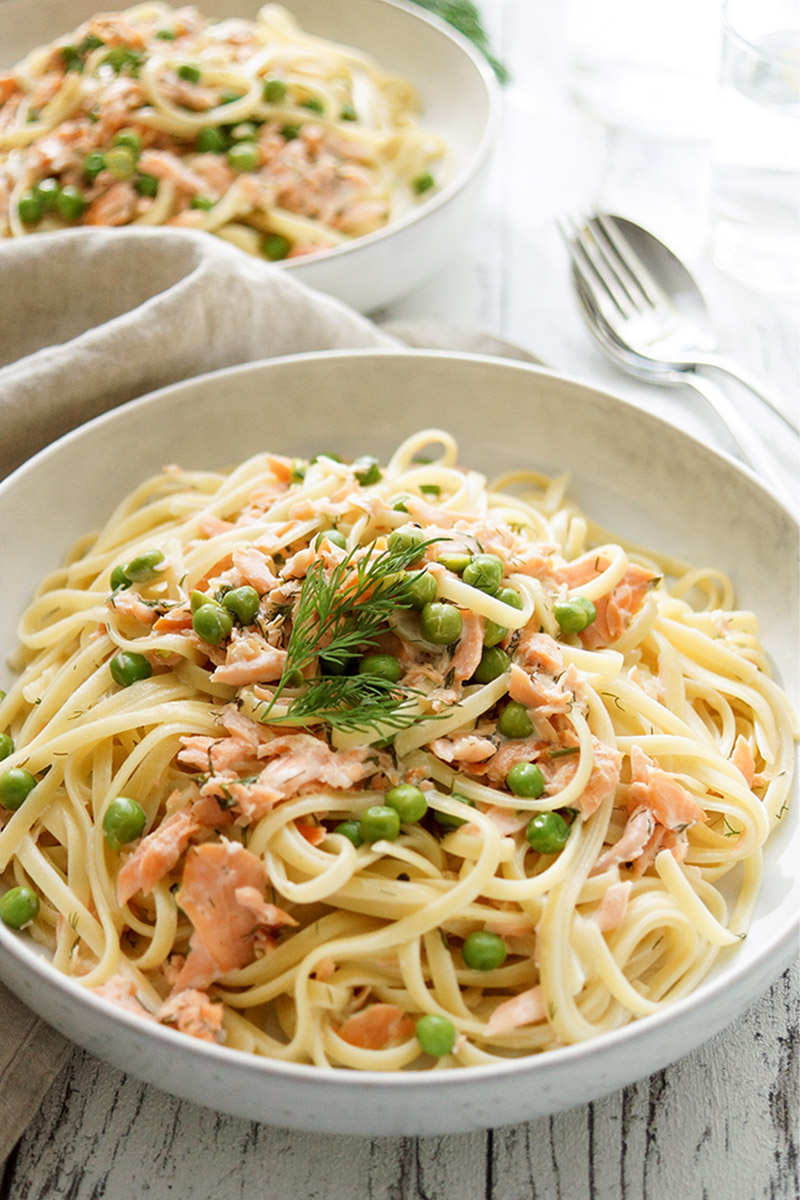 Creamy Smoked Salmon Pasta with Peas