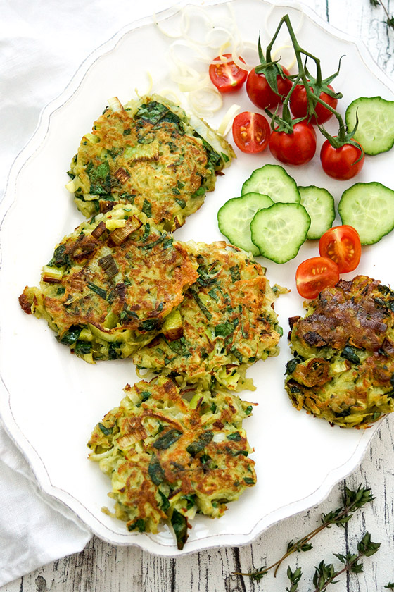 Potato and Leek Pancakes with Roquefort and Spinach
