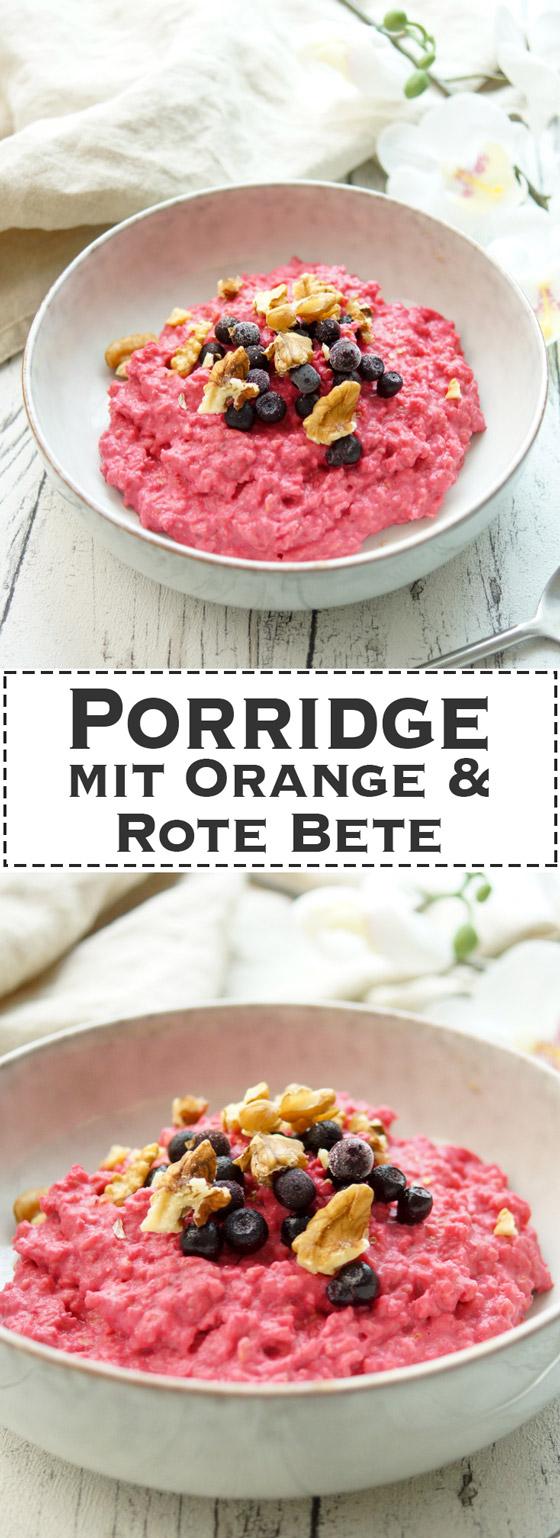 Porridge mit Orange und Rote Bete Rezept (vegan, vegetarisch, gesund, glutenfrei, low-fat, frühstück)