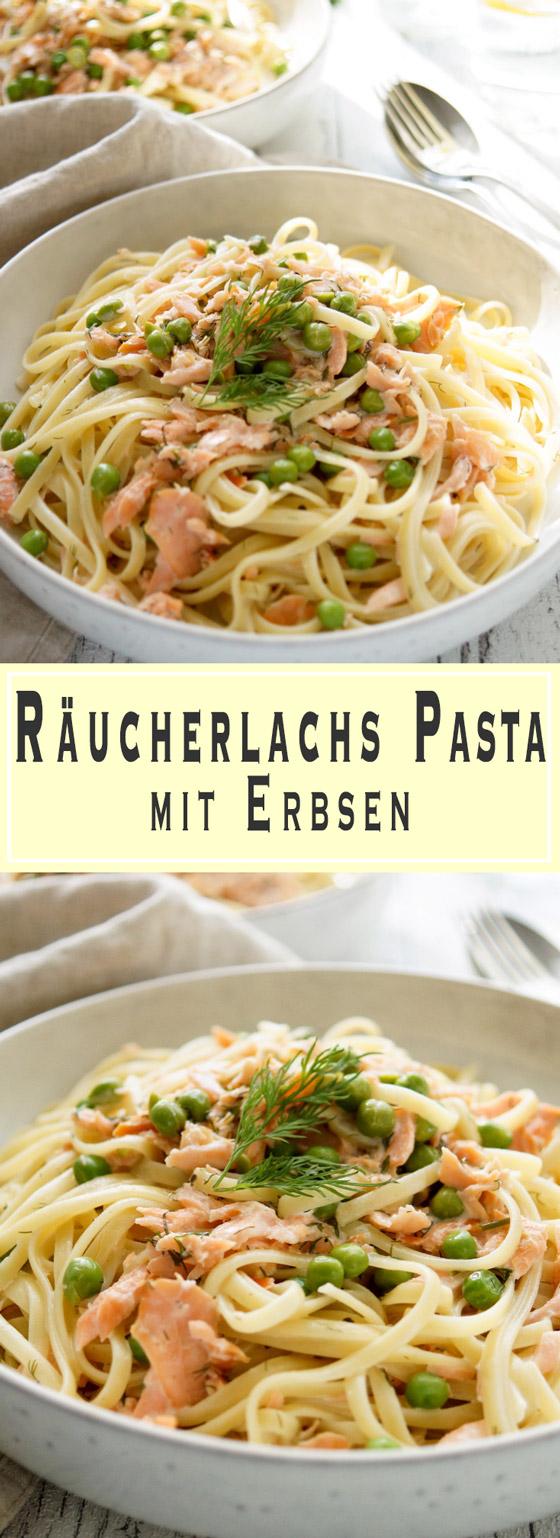 Rezept für cremige Crème Fraîche Räucherlachs Pasta mit Erbsen, Zitrone und Dill