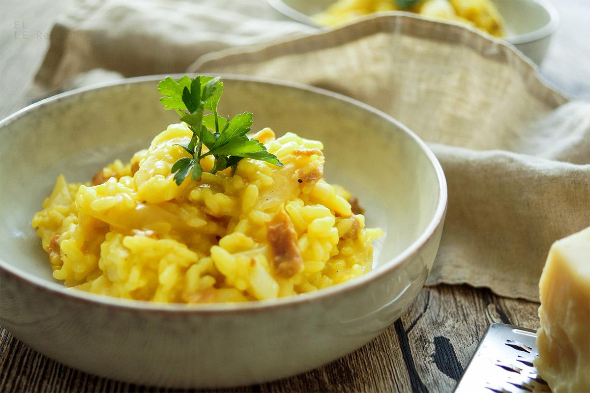 Ein einfaches Schwarzwurzel-Risotto Rezept mit Safran und Parmaschinken. Ein gesundes, leckeres, glutenfreis Gericht von Elle Republic