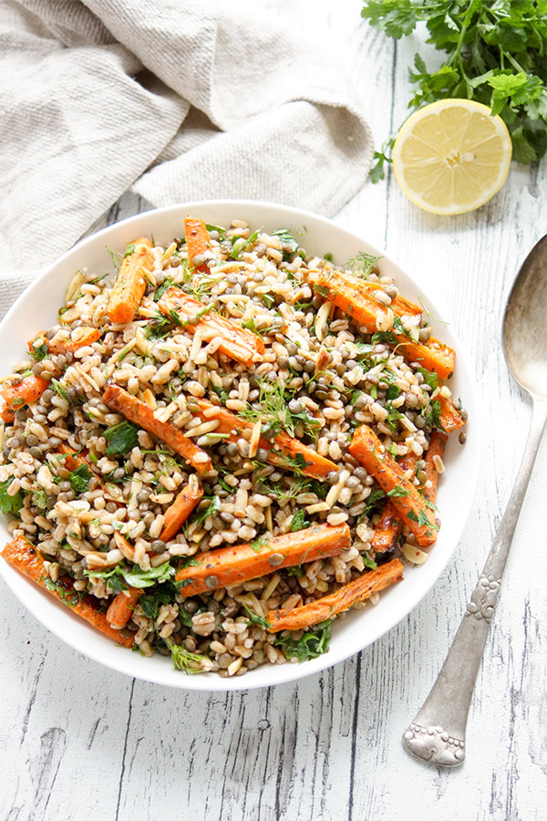 Za'atar Roasted Carrot, Spelt and Lentil Salad