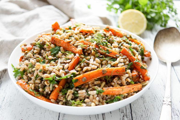 Za'atar Roasted Carrot, Spelt and Lentil Salad