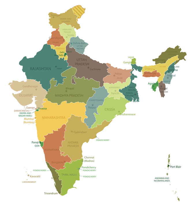 India-highly detailed map.