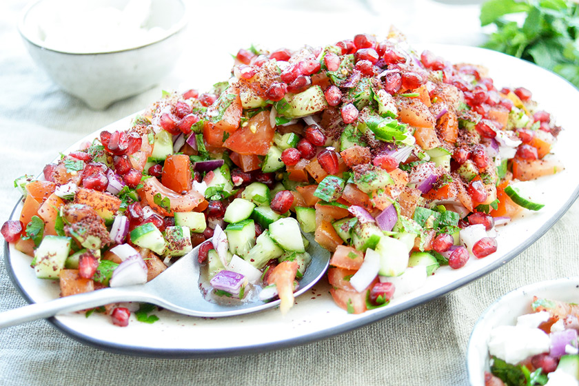 Persian Cucumber and Tomato Salad with Pomegranate