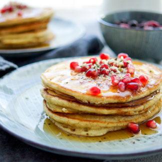 Gesunde Ricotta Pancakes, Rezept mit Dinkelmehl und Sojamilch
