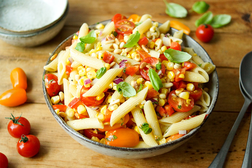 Summer Pasta Salad with Fresh Corn, Tomato and Basil