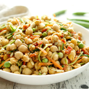 Vegan Chickpea Salad with Carrots and Zucchini