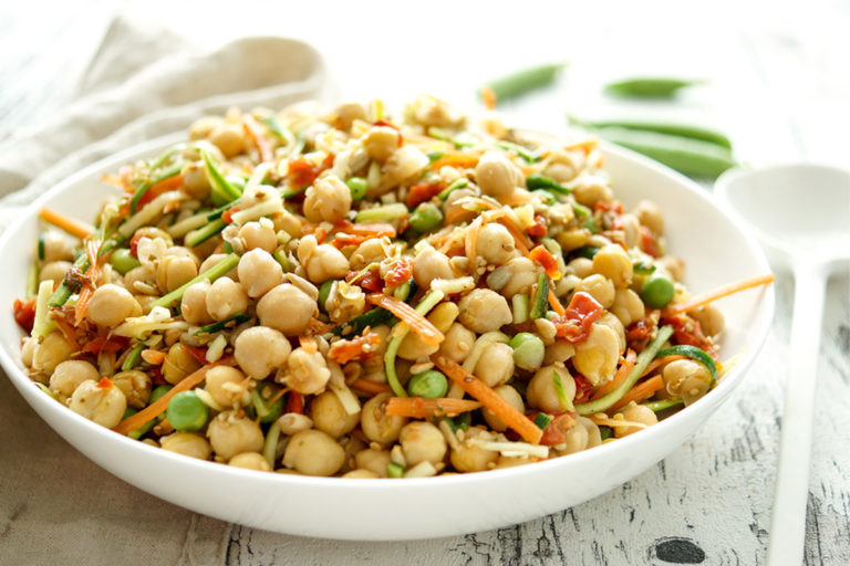 Chickpea Salad with Carrots and Zucchini