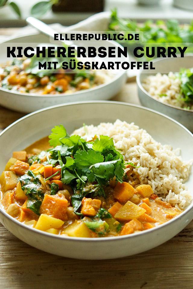 Cremiges Kokosmilch Kichererbsen Curry mit Süßkartoffel Rezept, vegan, vegetarisch