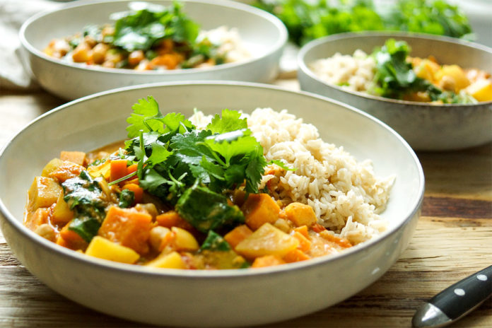 Coconut Chickpea Curry with Sweet Potato and Spinach