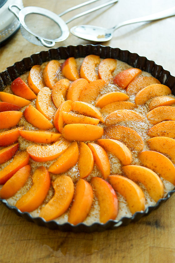 Apricot Tart Recipe with Buttermilk and Cardamom - before the baking