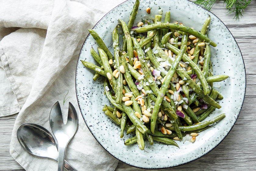 Roasted Green Beans with Lemon, Dill, Parmesan and Pine Nuts