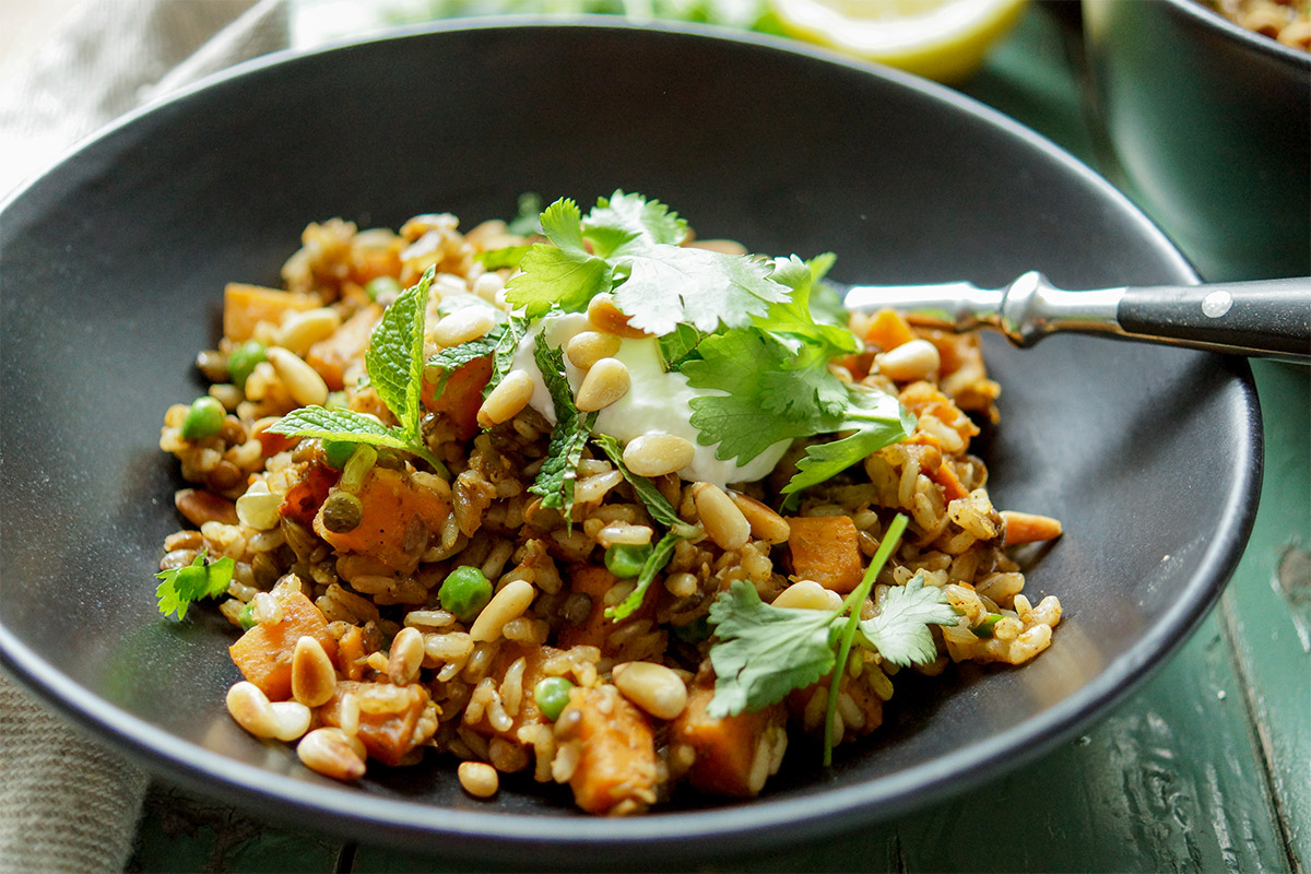 Lentil Rice Pilaf Recipe with Sweet Potato and Peas