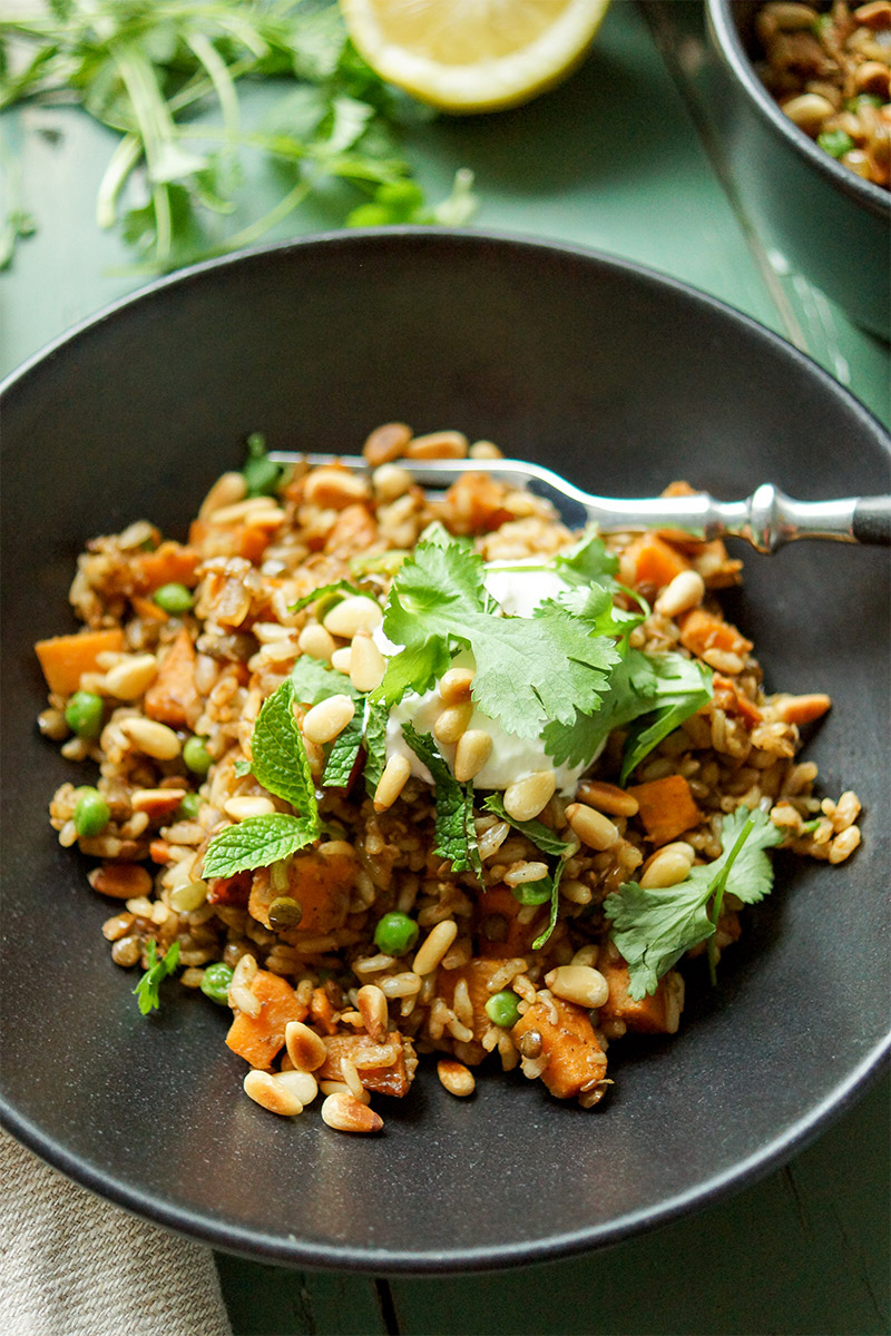 Lentil Rice Pilaf with Sweet Potato