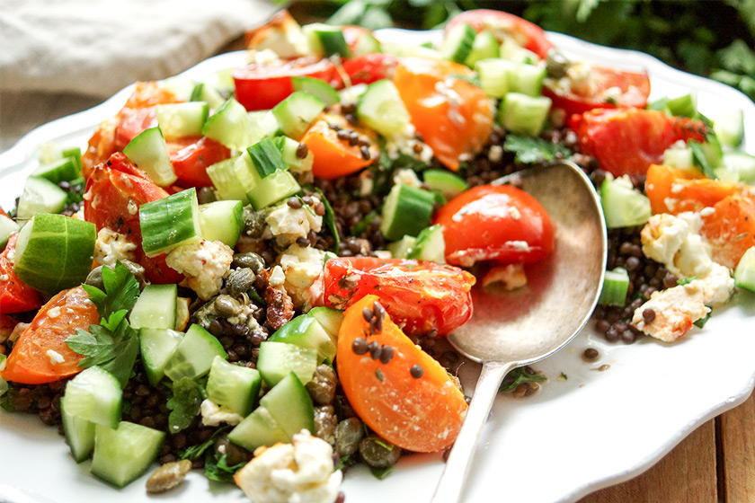 Roasted Feta and Tomato Lentil Salad with Cucumber