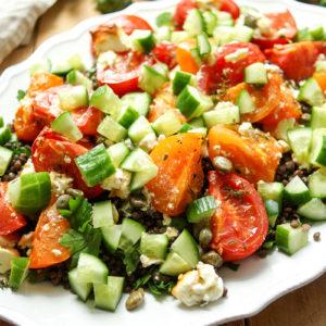 Roasted Feta and Tomato Lentil Salad