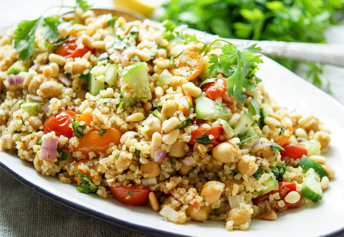 Bulgur Salad with Roasted Tomatoes and Chickpeas
