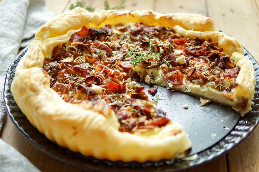 Caramelised Shallot Tart recipe with Prosciutto, Thyme and Ricotta