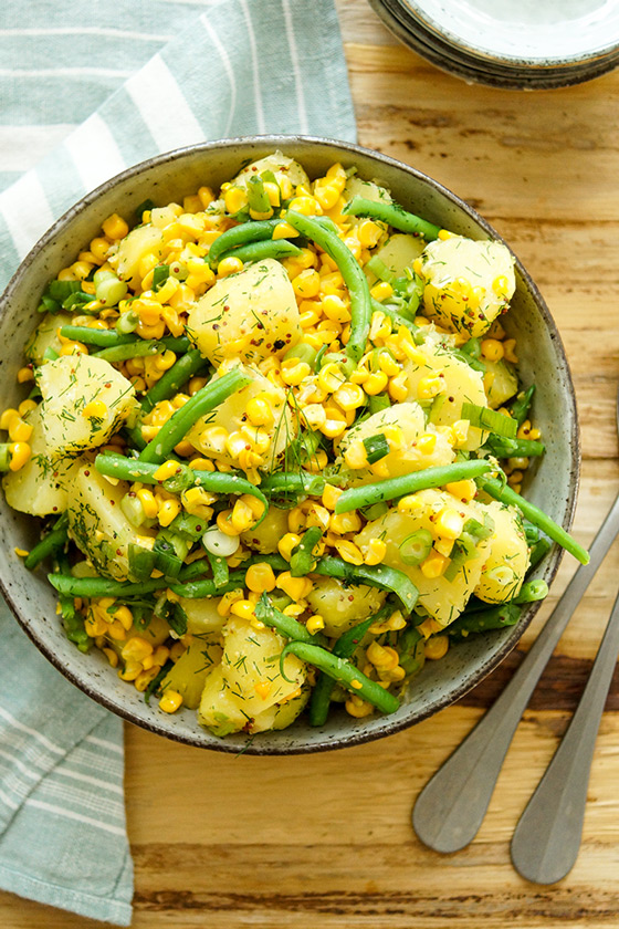 Kartoffelsalat mit geröstetem Mais und grünen Bohnen Rezept, vegan, glutenfrei, vegetarisch, low-fat