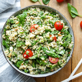 Spinach Quinoa Salad with Feta and Herbs