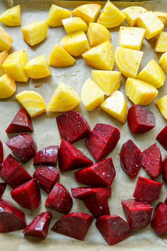 Gelbe und Rote Bete für Quinoa-Salat mit Rote Bete und Feta-Rezept