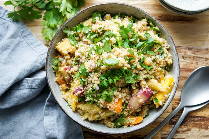 Quinoa with Roasted Parsnips, Carrots and Chickpeas