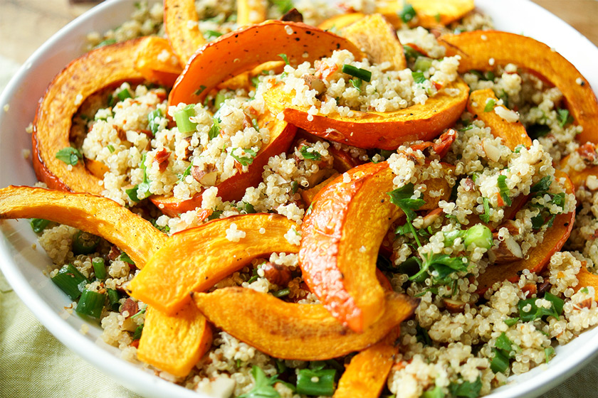 Roasted Pumpkin and Quinoa Salad with Almondsi