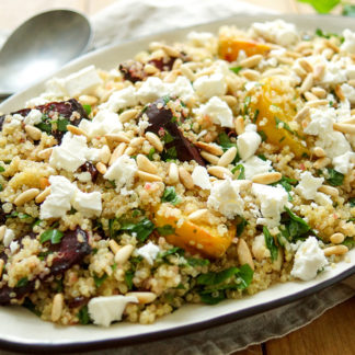 Quinoa Salad with Roasted Beets, Feta + Pine Nuts