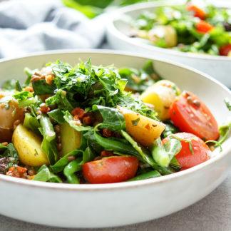 Linsen-Kartoffelsalat mit Rechtsregulat-Vinaigrette, Veganes Rezept