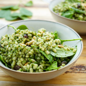 Barley Bowl with Lemon-Spinach Pesto‏