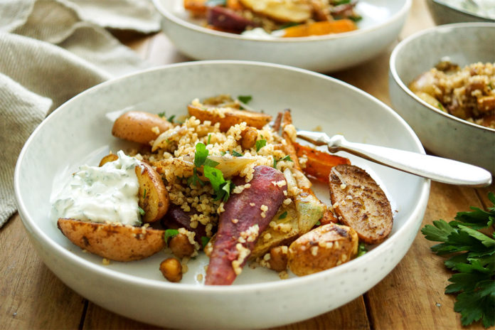 Moroccan-Spiced Roast Vegetables and Chickpeas with Bulgur