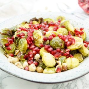 Roasted Brussels Sprouts with Hazelnuts and Pomegranate
