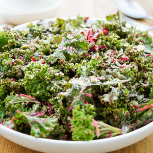 Simple Kale Salad with Lemon-Tahini Dressing