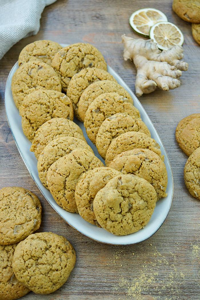 Ingwer-Kekse Rezept mit Dinkelmehl, frischem Ingwer, gemahlenem Ingwer, kandiertem Ingwer, vollrohzucker, Rohrohrzucker, gesund