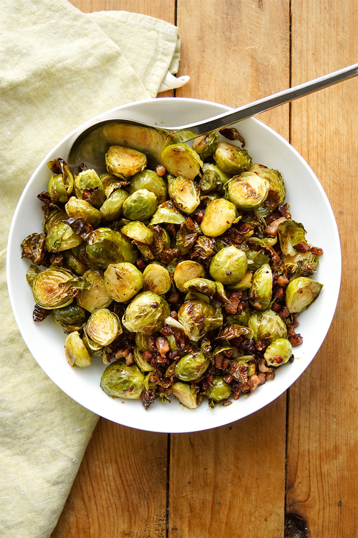 Oven Roasted Brussels Sprouts with Balsamic Cream