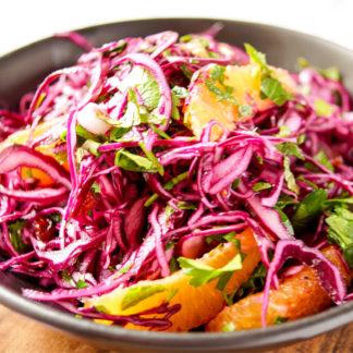 Rotkohlsalat mit Cranberry und Orange mit Petersilie und MInze Rezept, Rohkost, vegan