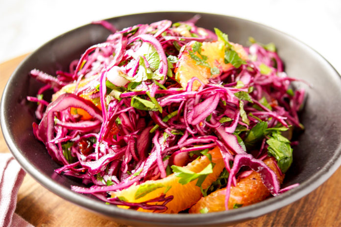 Coleslaw recipe for Red Cabbage Orange Salad with Cranberries & Herbs