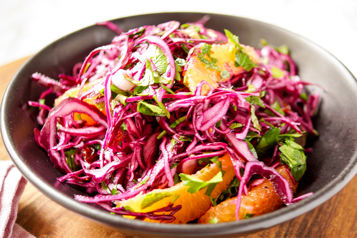 Red Cabbage Orange Salad With Cranberries Herbs Elle Republic