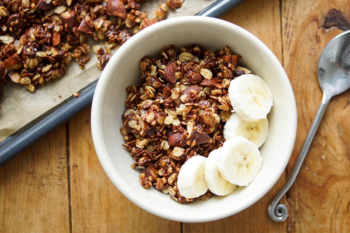 Crunchy Barley Granola with Almonds and Dark Chocolate