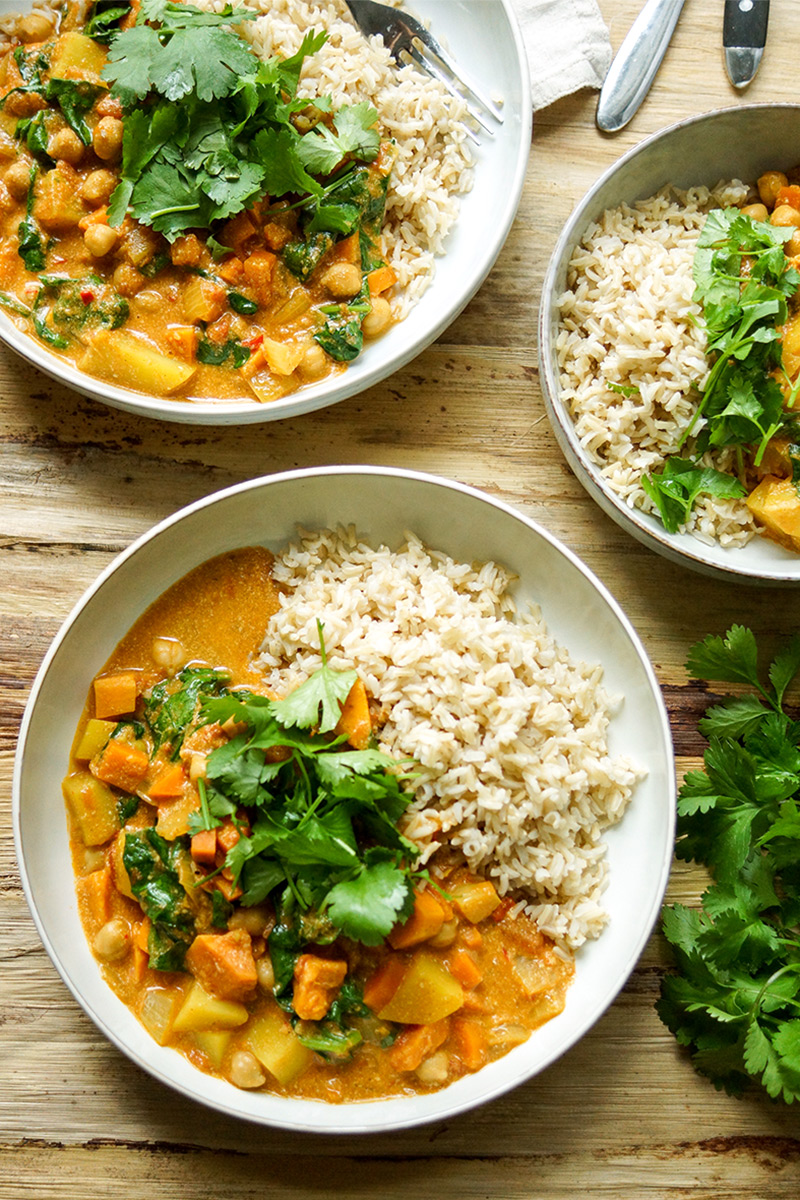 Coconut Chickpea Curry with Sweet Potato and Spinach and Basmati Rice