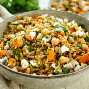 Grünkernsalat mit gerösteten Süßkartoffeln und Kichererbsen Rezept, vegetarisch