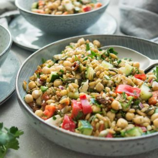 Greek Grünkern Salad with Chickpeas